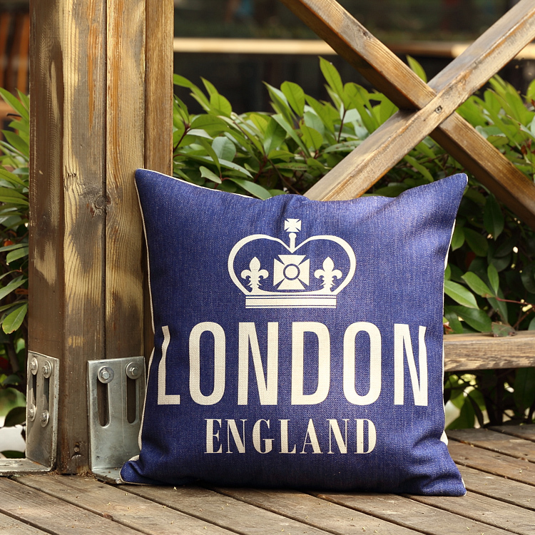 Retro Vintage Throw Home Decorative Cotton Linen Pillow Cushion Cover Crown(China (Mainland))