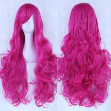 20 Colors Women Heat Resistant Pink Black Blue Red Yellow White Blonde Purple Wavy Cosplay Wigs 80cm(China (Mainland))