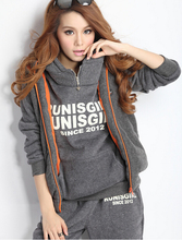 Wholesale 2015 sports sweatshirt tracksuit women's sets 3 pieces hooded fleece thick sweatshirt plus size M-XXL S5301(China (Mainland))