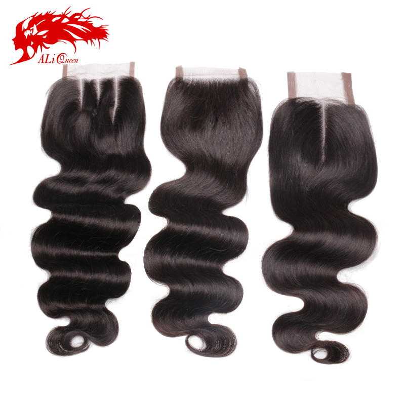 Brazilian Body Wave Lace Closure Free Part, Middle Part Or 3 Ways Part Ali Queen Hair Virgin Brazilian Body Wave Lace Closure(China (Mainland))