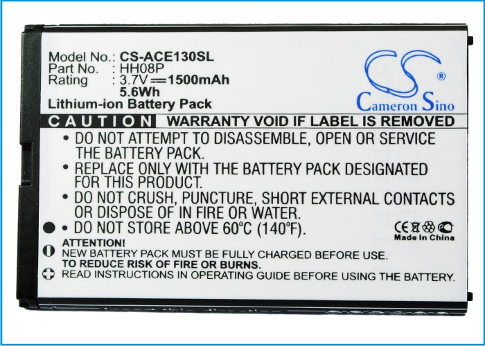 Cell Phone Battery For ACER For beTouch E130, E130 B, E140 (p/n BT.0010S.002, HH08P)(China (Mainland))