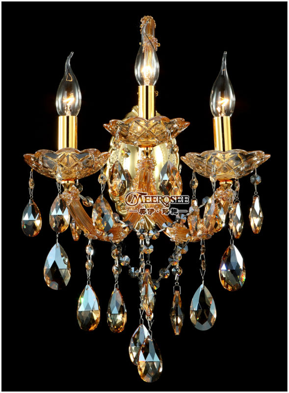 Amber Crystal Wall Lights : Maria Theresa Crystal Wall Sconces Light Fixture with 3 lights Amber color-in Wall Lamps from ...