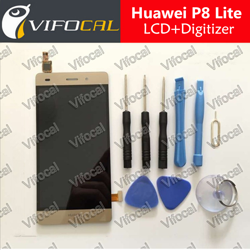 Huawei P8 Lite LCD Display + Touch Screen + Tools 100% Original Digitizer Assembly Replacement For Huawei Cell Phone - Gold