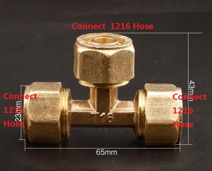 4Pcs/Lot Brass Hose Fitting 3 Way Adapter  G1/2 Compression + G1/2 Compression+G1/2 Compression, Solar Water Heater Fittings<br><br>Aliexpress