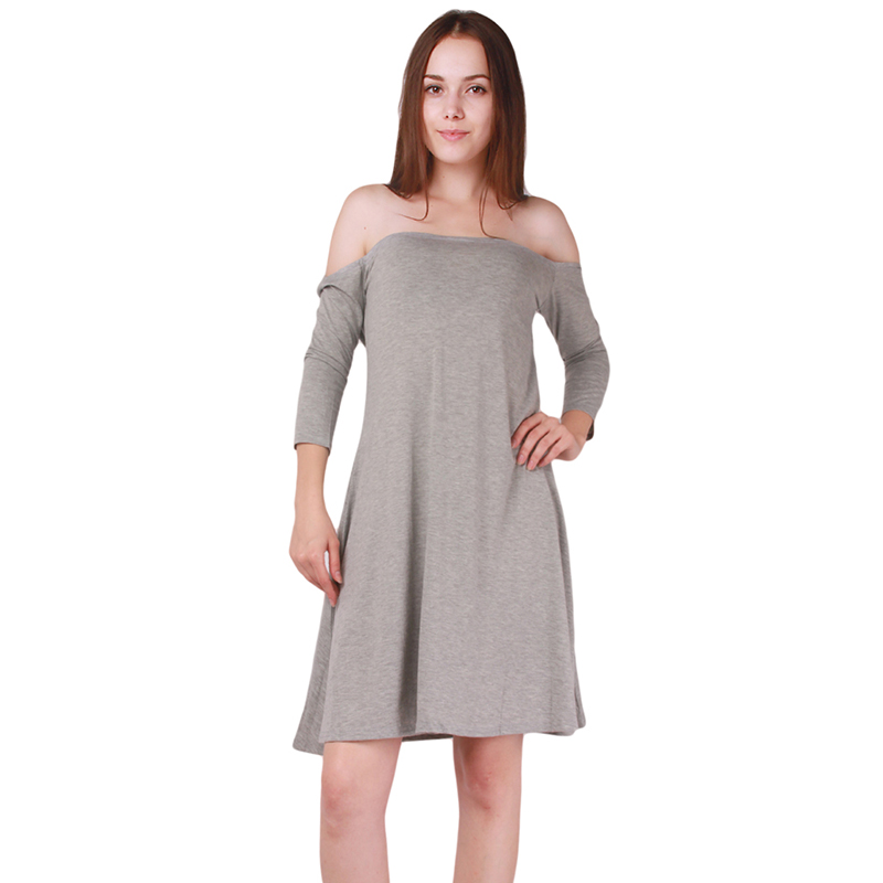 Plus Size Sexy Women Slash Neck Knee-Length Dress Casual 2017 Long Sleeve Loose Solid Gray Dresses New Style IU854904