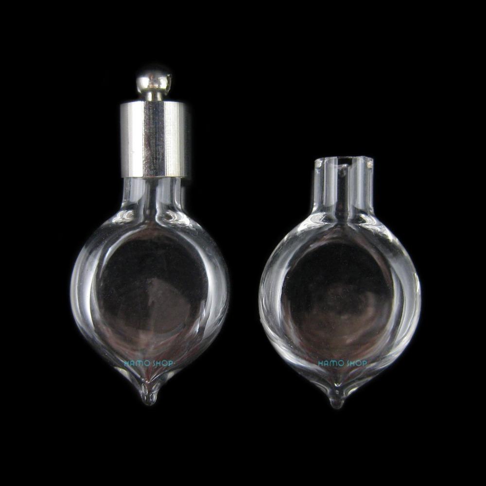 20pcs g2 blown glass small bottle sticky cap stopp blown glass bottle pendant