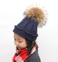 Winter Girls Hat 16 cm--Real Raccoon Fur Pom Pom Knitted Boys Beanie Baggy Crimping Children Kids Beanie Ear Warm Free Shipping(China (Mainland))