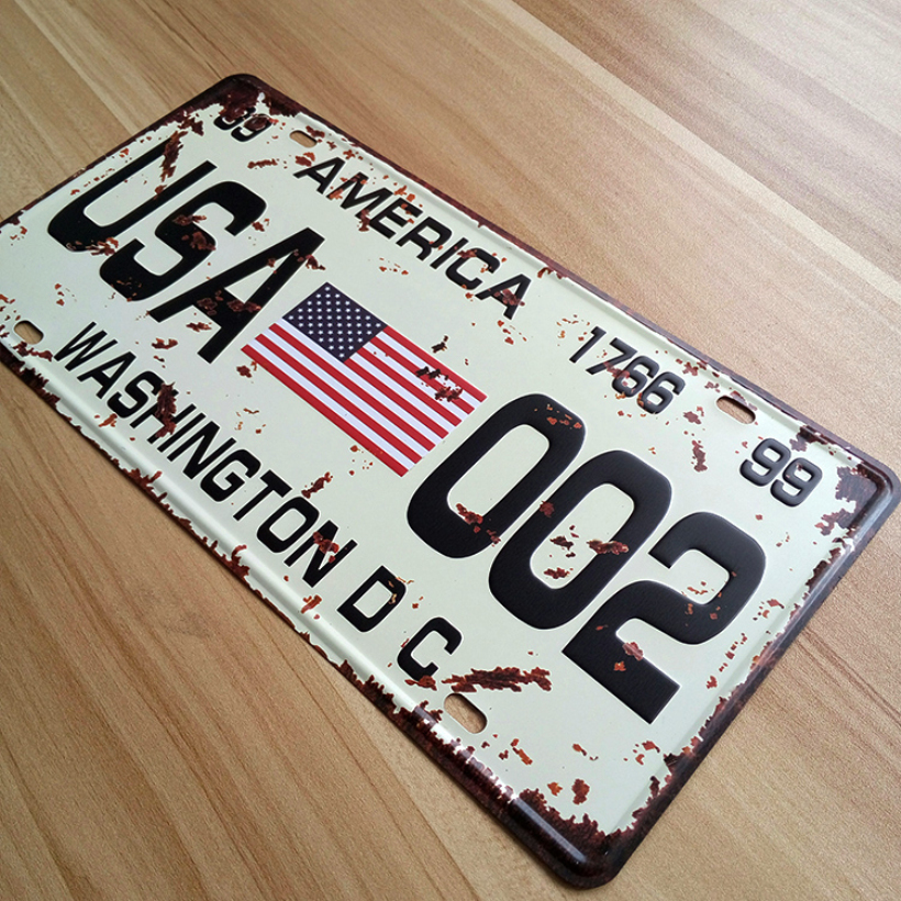 "UA-XZ-C31 Free ship car number "" USA-002 "" Vintage matal tin signs bar wall art craft home decor plates 30*15 CM(China (Mainland))"