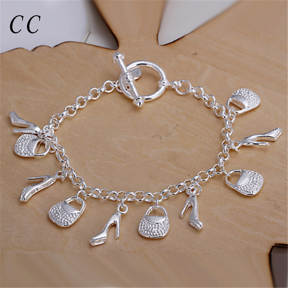 Trendy jewelry wholesale hangling shoes and bags charm bracelets for women silver plated link chain bijoux birthday giftCCNE0653(China (Mainland))