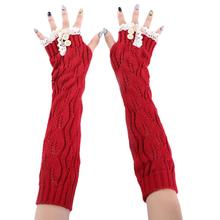 2015 new Women Fingerless Knitted Openwork lace Gloves Arm Warmer Winter Gloves(China (Mainland))