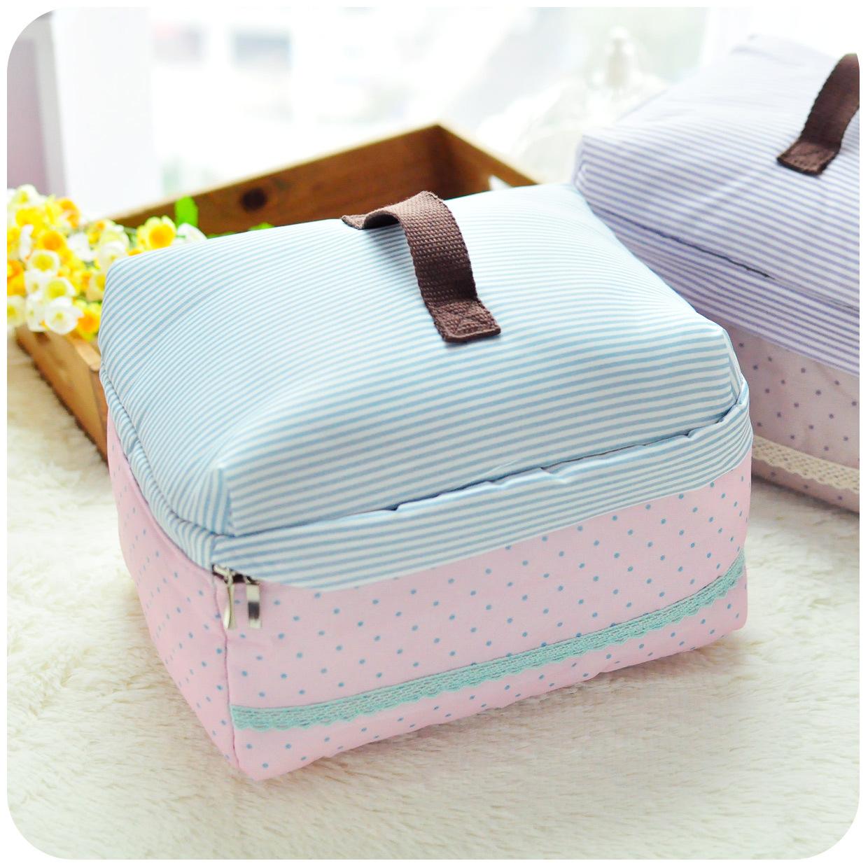 Trendy Multipurpose Handbags Cosmetic Bags Women Dot & Stripe Print Nylon Travel Bag For Make Up Purse Case Cell Phone Bag(China (Mainland))