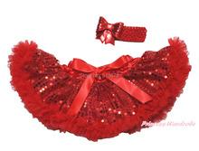 Newborn Hot Red Bling Sparkle Sequins Pettiskirt Tutu & Hair Accessory 3-12Month MADRE0021(Hong Kong)