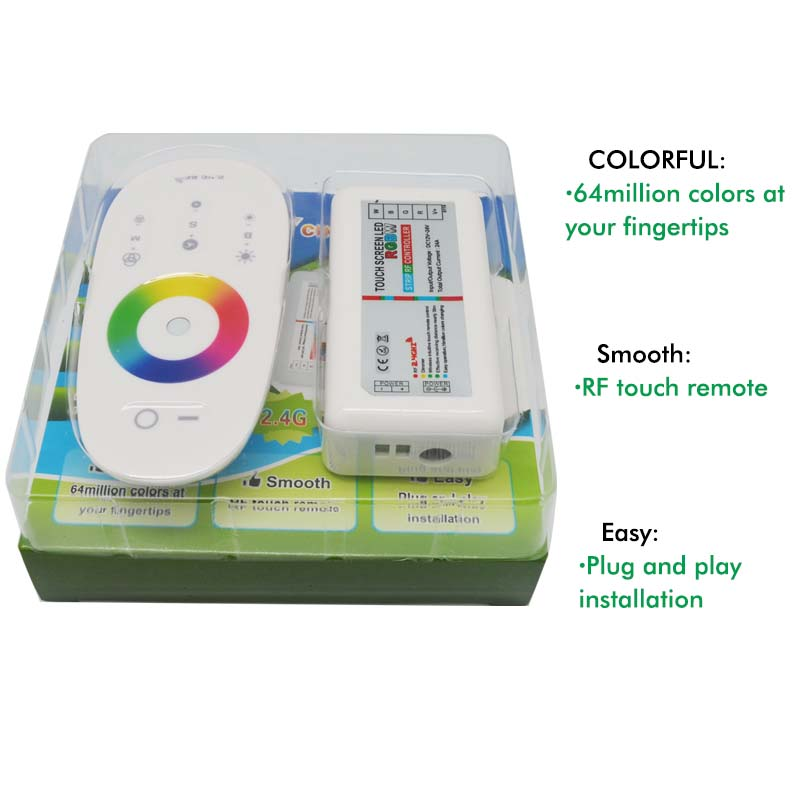 Free shipping, 1Pcs / Lot , 2.4G touch screen DC12-24A RGBW led controller RF remote control for led strip(China (Mainland))