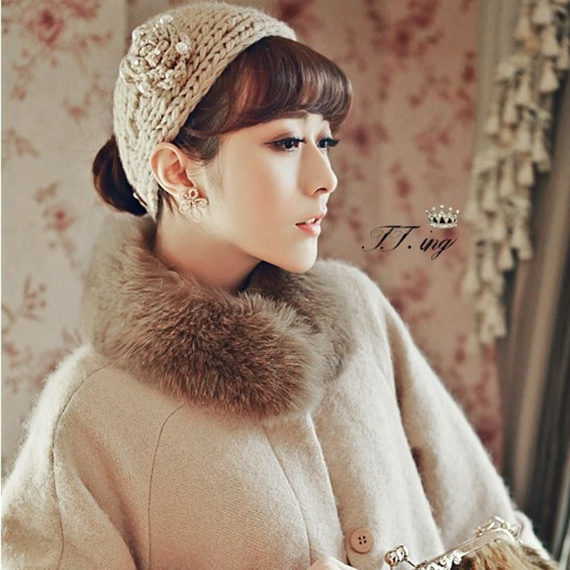 solid fashion hairband camellias flower hair headband wearing warm woolen knitted wide headband hair accessories(China (Mainland))