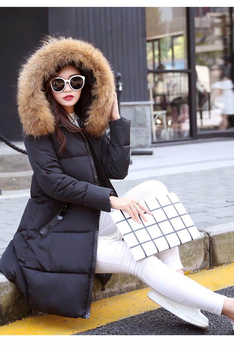 Скидки на Женская зимняя куртка, средней длины Тонкий большой волосы воротник капюшоном зима теплая Полиэстер Вата хлопчатобумажная куртка женская куртка