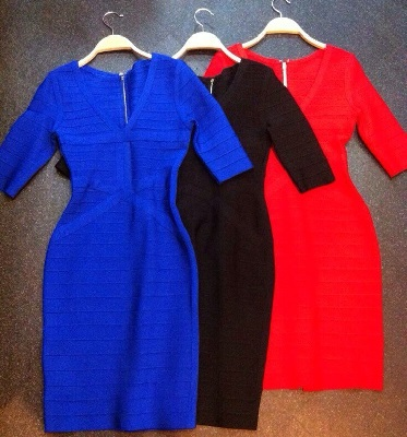 High Quality HL Blue Black Red Half Sleeve Bandage Dress Famous Brand Cocktail Bodycon Dress(China (Mainland))