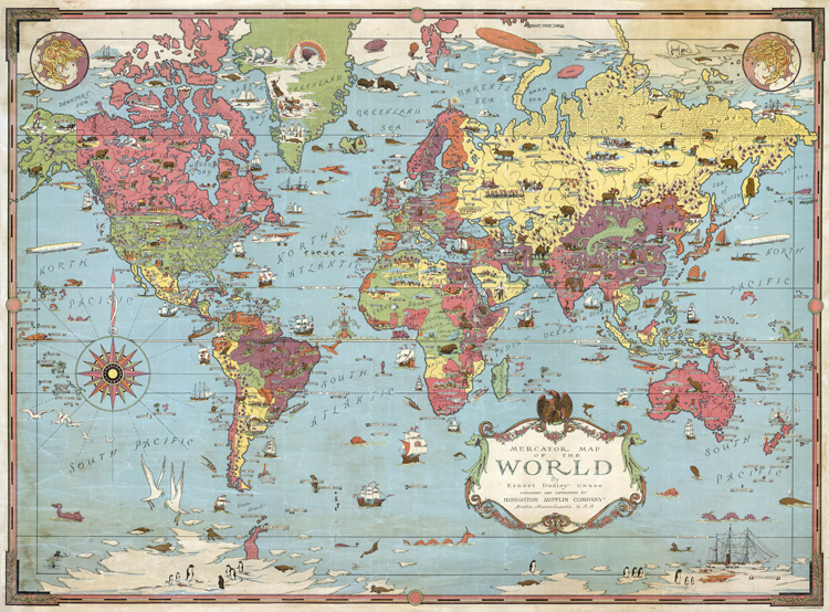 vintage cotton canvas oil painting Mercator world map plat decorative wall st