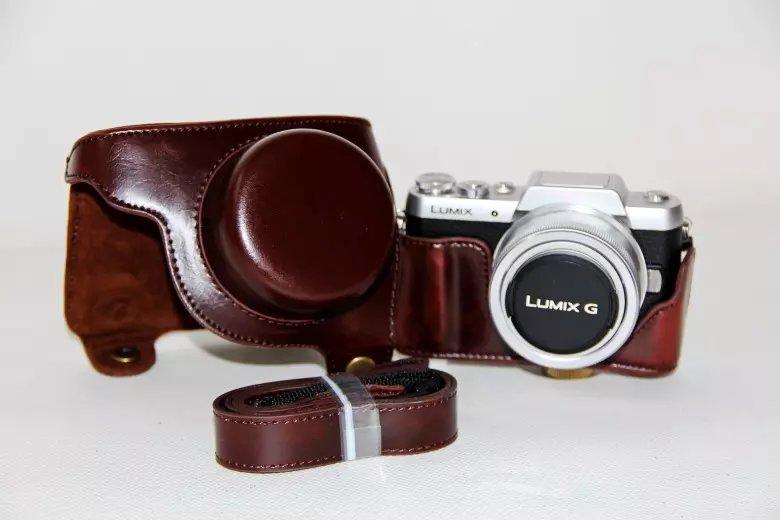 New Retro Vintage Leather Camera Case Bag For Panasonic Lumix GF7 Camera Coffee PU Leather Camera Bag With Free Strap(China (Mainland))