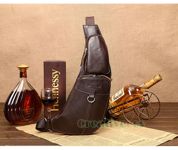 Men's Vintage Genuine Leather Travel Hiking Riding Bike Messenger Shoulder Cross Body Sling Pack Chest Casual Bag(China (Mainland))