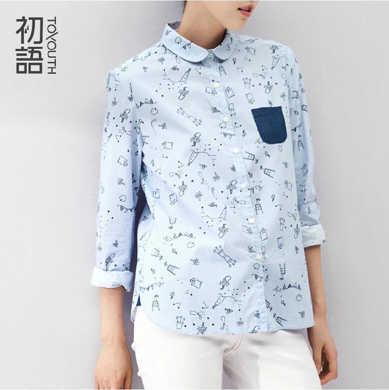 Toyouth 2015 Women Blouses Turn Down Collar Cartoon Blouse Long Sleeve Shirt Women Camisas Femininas Ladies Summer Tops
