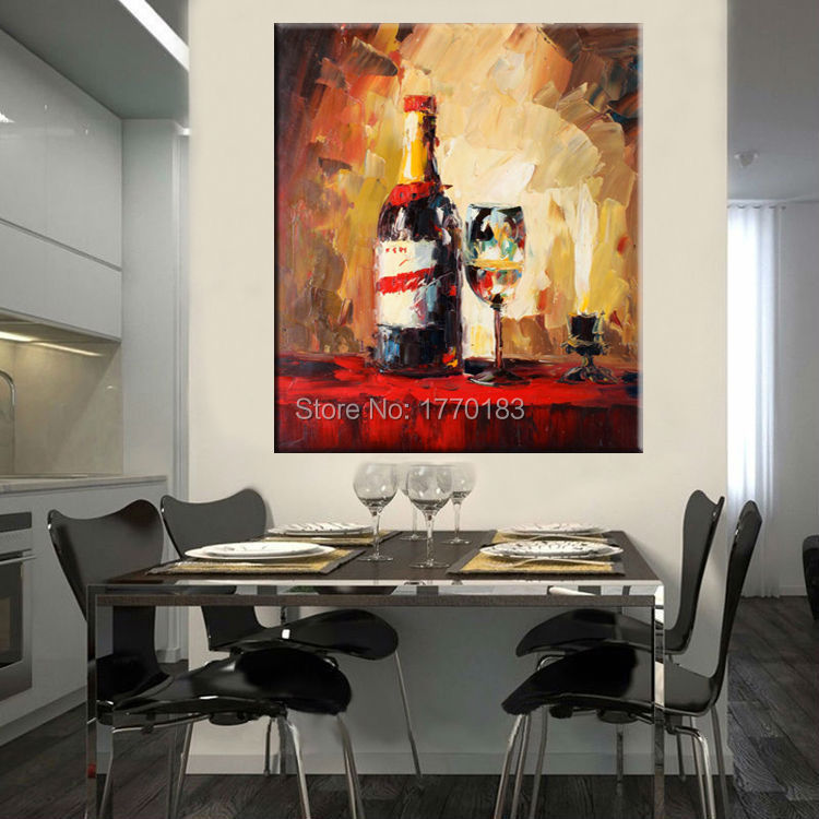 Buy hand painted wine bottle and glass for Dining room wall art canvas