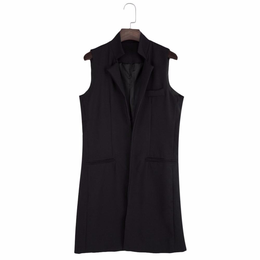 VESTLINDA Long Vest Back Split Outwear Waistcoats Women White Black Jacket Coat Sleeveless Cardigan Pocket Blazer Vest Femme Top 17