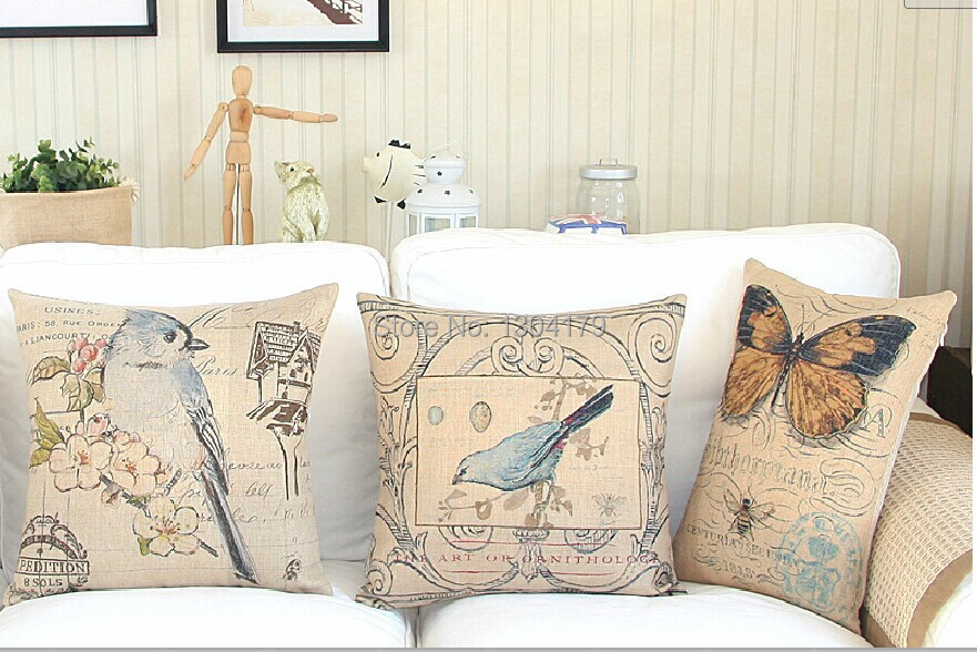 Floral Butterflies cotton cushion cover Linen Pillow pillowcases Home Decor sofa cushions Pillows 45*45cm - Belle store