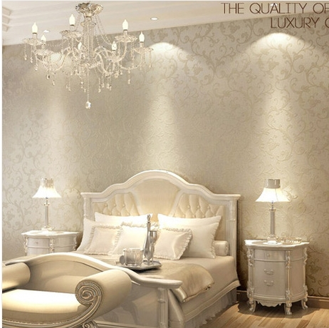 Wallpaper designs for walls picture more detailed for Damask wallpaper living room ideas
