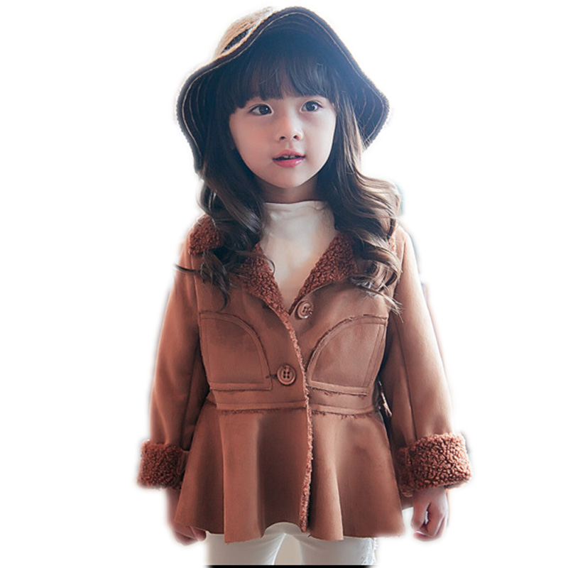 2016 girl coat winter thicken warm baby winter coat candy color girls leather jacket faux fur single breasted toddler girl coats(China (Mainland))