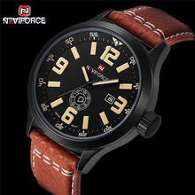 2016 Luxury Brand NAVIFORCE Fashion Watches Men Leather Casual watch Waterproof  Military Relogio Masculino Sport Men Wristwatch