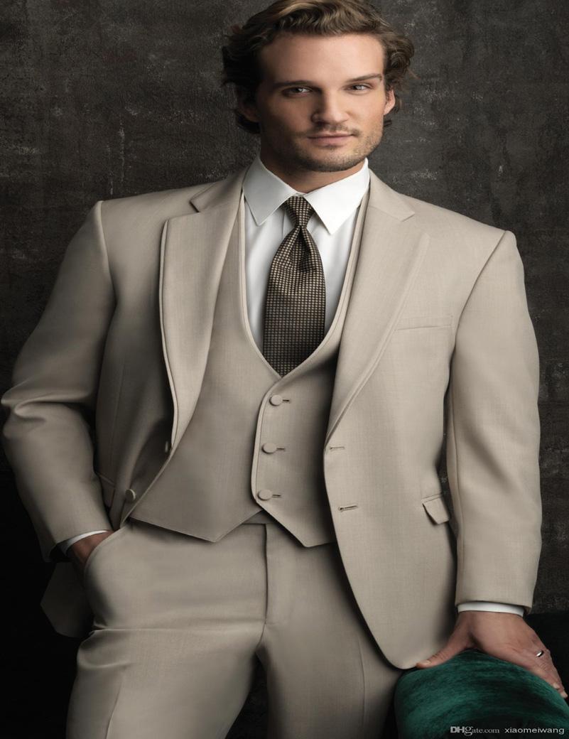2016 Gentlemen Beige Groom Tuxedos Business Formal Wear Mens Wedding Suits Notched Lapel Bestman Prom Blazer (Jacket+Pants+Vest)Одежда и ак�е��уары<br><br><br>Aliexpress