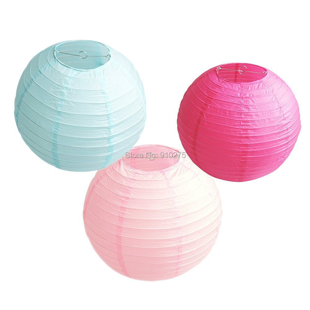 Free Shipping Set of 6 Mixed 2 Sizes 3Colors Chinese Paper Lantern Lamp shade Wedding Birthday Party Festival Event Supplies(China (Mainland))