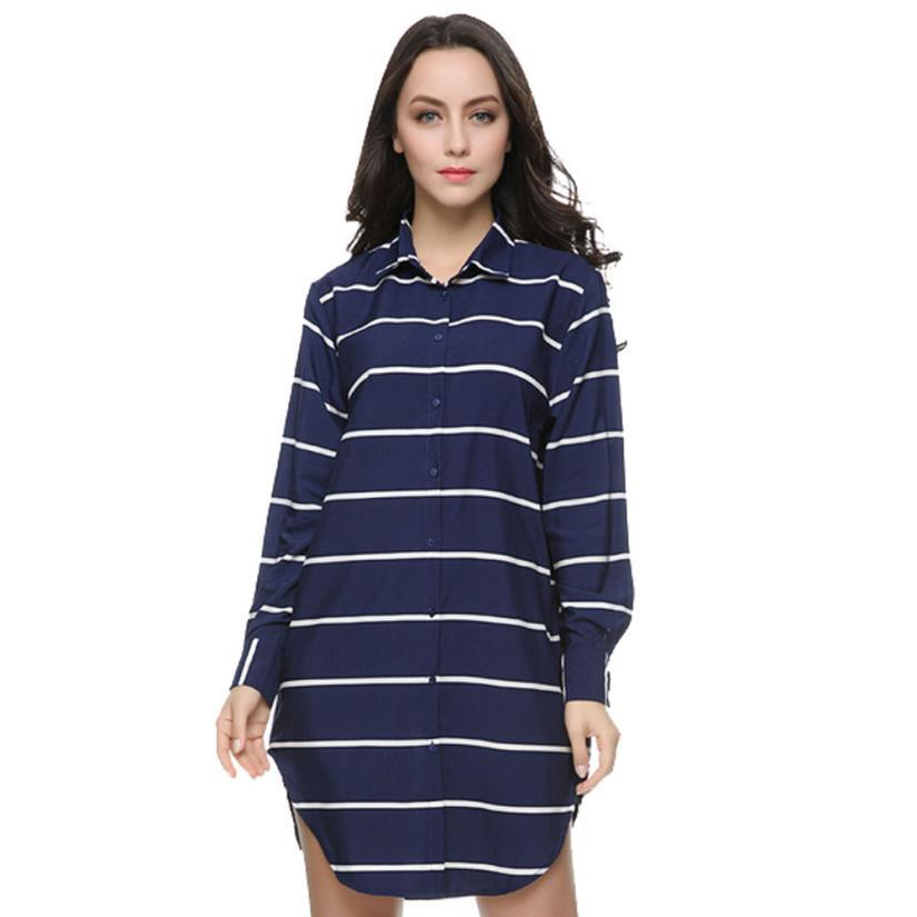 Women Autumn Striped Shirting Long Blouses Vintage Turn Collar Sleeve Shirts Casual Top Blusas Femininas European - ShenZhen jimshop store