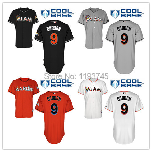 Good Quality Mens Miami Marlins Jerseys #9 Dee Gordon Baseball Jersey,Embroidery and Sewing Logos,Size M-XXXL