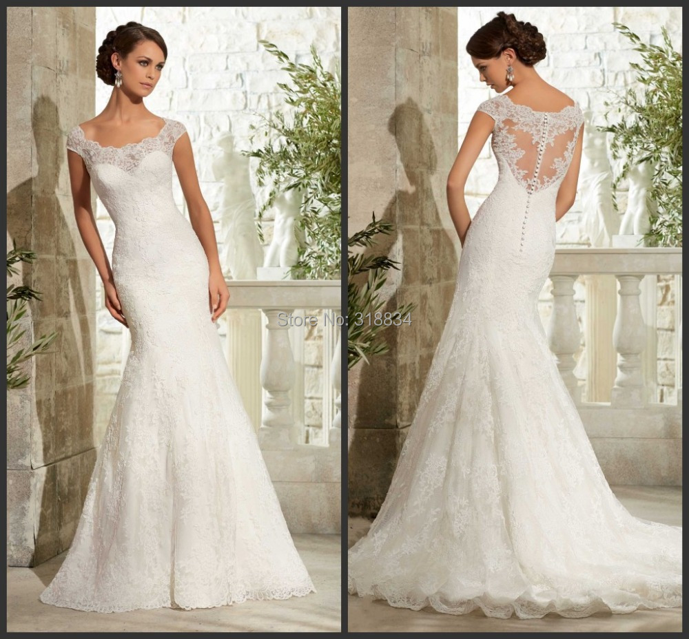 Romantic white lace appliques wedding dresses sexy mermaid for Wedding dress with see through lace bodice