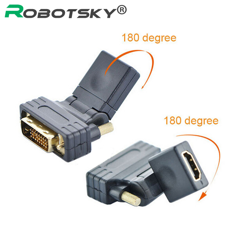 Top quality 360 degree rotation DVI-D Dual link Male 24+1 pin to HDMI Female HDMI to DVI Gold plated Connector Adapter(China (Mainland))