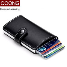 QOONG Travel Card Wallet Multi-function Automatic Pop Up Credit Card Holder Men Women Business Aluminum Leather Card Case 1-004(China (Mainland))