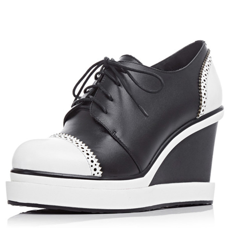 White black full grain leather 8cm High Heels Platform Lace-up Casual Shoes For Ladies Girls Spring Autumn Women office  Pumps