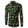 Brand New Camouflage Shirts Mens Long Sleeve Casual Shirts Slim Fit Army Camo Shirt Disruptive Pattern