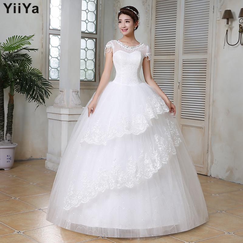 Free shipping wedding dresses 2015 white plus size lace for Cheap plus size lace wedding dresses