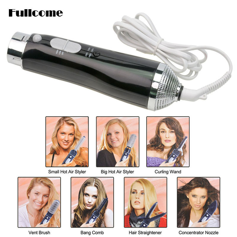 7 in 1 Multifunctional Hair Sticks Hairdryer Electric Fashion Styling Tools Straightener Blow Dryer Magic Hair Dryer Curler _566(China (Mainland))