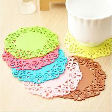 2pcs/lLot Beautiful Flower Shaped Colored  Silicone  Round Table Heat Resistant Mat Cup Coffee Coaster Cushion Placemat Pad(China (Mainland))