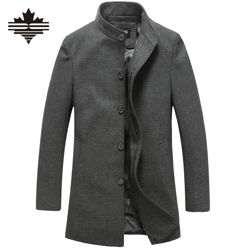 Men's Coat Spring Autumn Brand Men Woolen Coats Middle Long Jackets And Coats Mens Outdoor Warm Wool Overcoat Size 3XL 2XL(China (Mainland))