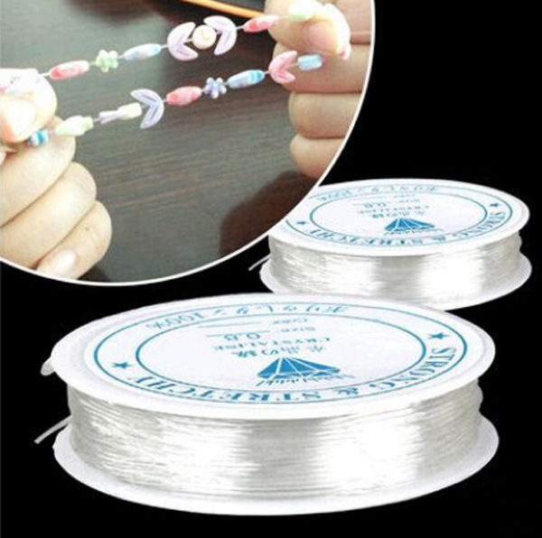 1 ROLL 5M-12M (196-471 inch ) Length 0.5-1.0mm Diameter Crystal Elastic Beading Cord String Thread for DIY Necklace Bracelet(China (Mainland))
