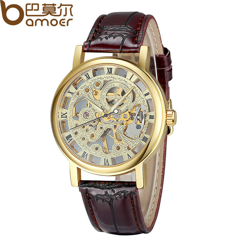 Гаджет  2013 New Arrival Leather Manual Mechanical Hand Wind Skeleton Watches Black and Brown for Men Vintage Fashion Man Wristwatch None Часы