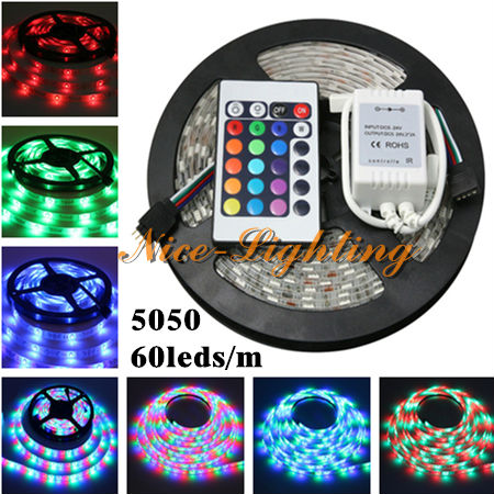 5M/roll Non-Waterproof SMD 5050 Flexible Led Strip DC 12V RGB Color Indoor Decoration Light Stripe + 24Keys IR Remote Controller(China (Mainland))