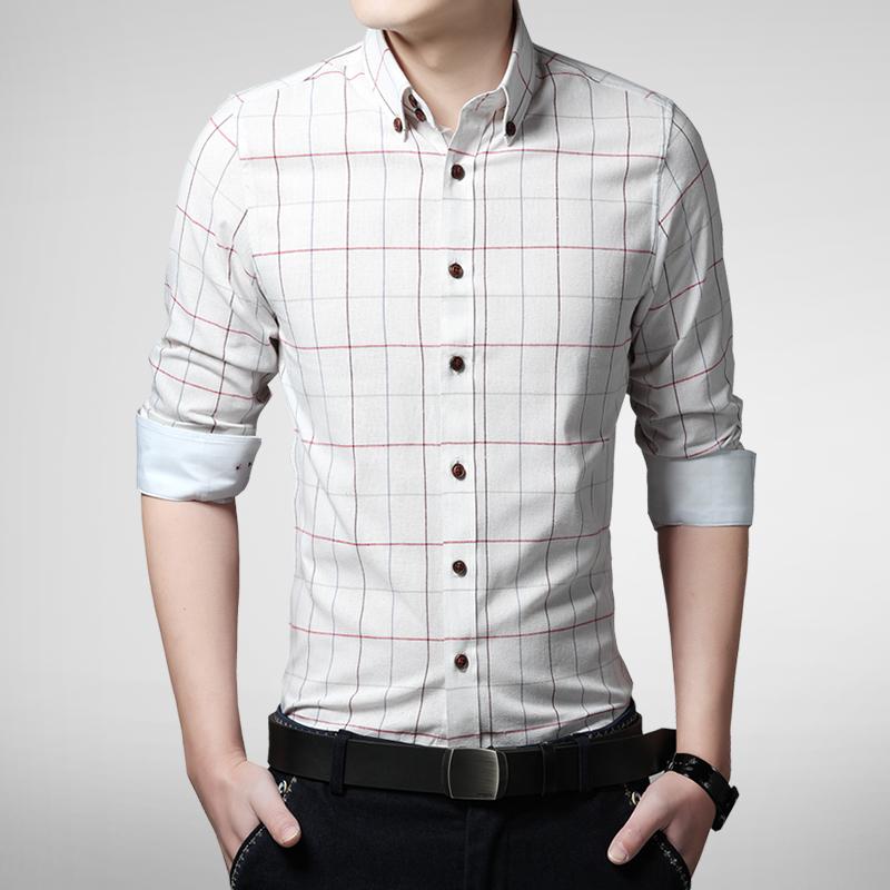 2015 New Spring Fashion Brand Men Clothes Plaid Korean Slim Fit Men Long Sleeve Shirt Men