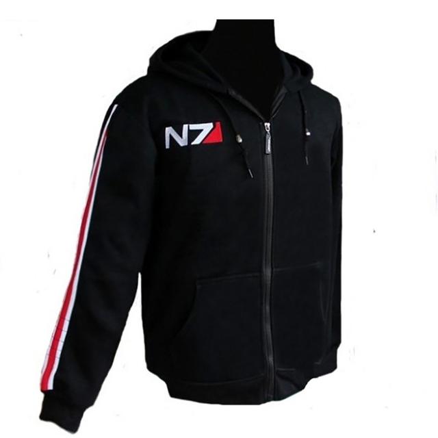 RPG Игры Mass Effect 3 N7 топ Пальто мужская Одежда косплей костюм черный Пиджак/Футболка мужская хлопок спортивные костюмы