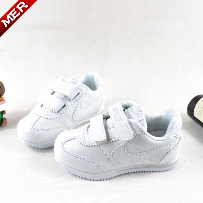 2014 spring full white waterproof children shoes boys shoes female large child children running shoes sport shoes(China (Mainland))