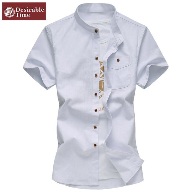 2016 летние мужские мандарин воротник рубашки Большой размер 5XL 6XL мода мужчины ...